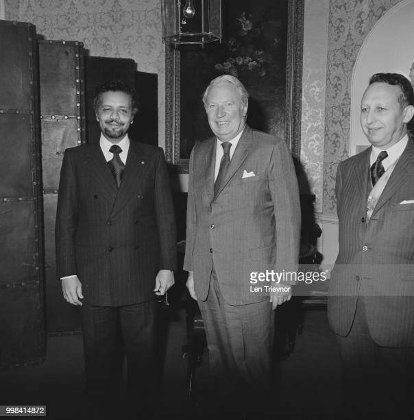 Prime Minister of the United Kingdom Edward Heath pictured in centre with Shiekh Ahmed Zaki Yamani Saudi Minister of Petroleum and Mineral Resources...