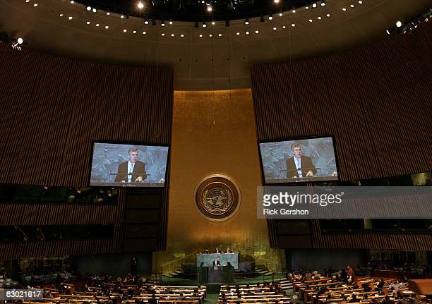Prime Minister of the United Kingdom Gordon Brown speaks at the 63rd annual United Nations General Assembly meeting September 26 2008 at UN...