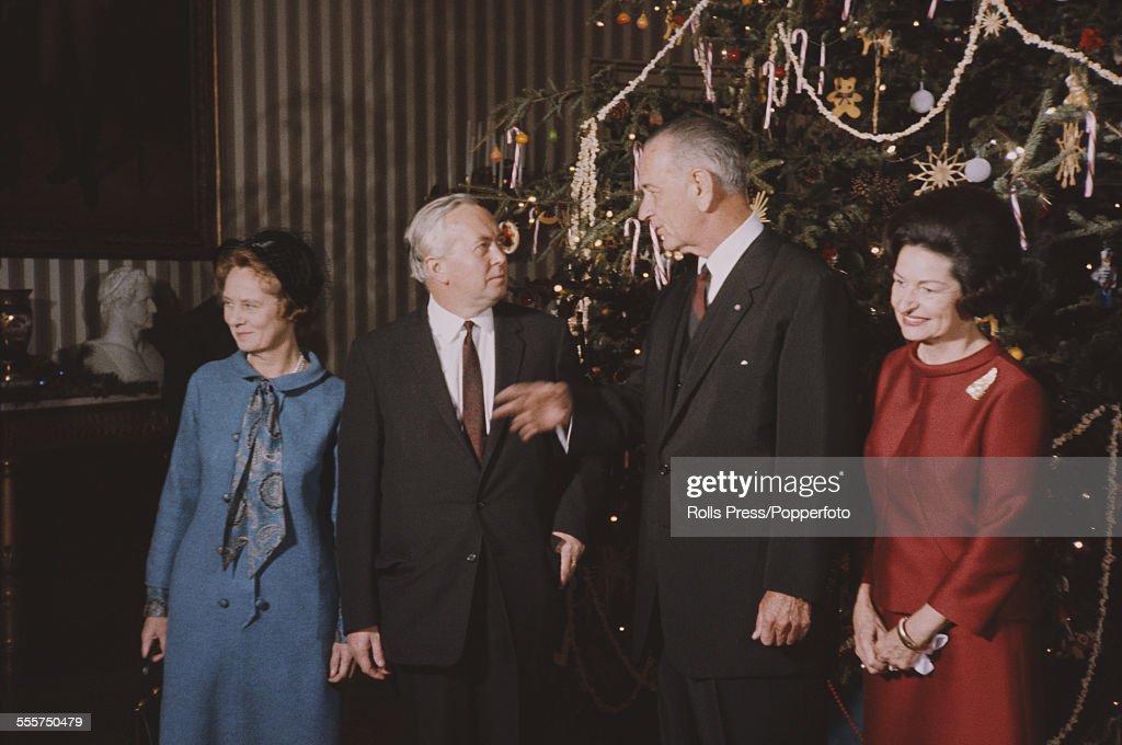 Harold Wilson And Lyndon B. Johnson : News Photo