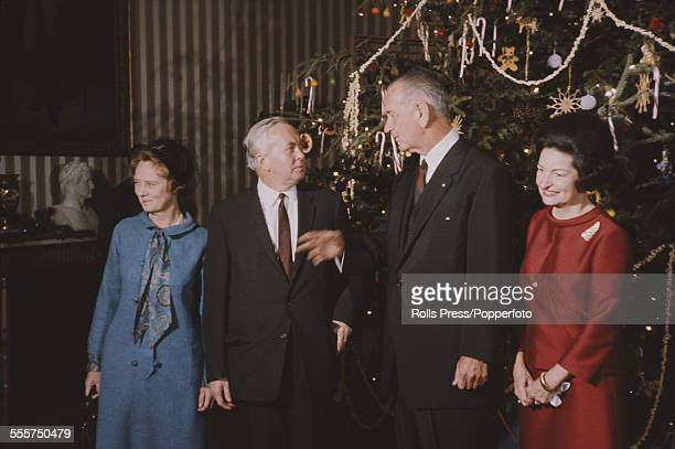 Prime Minister of the United Kingdom Harold Wilson and his wife Mary Wilson stand with President of the United States Lyndon B Johnson and his wife...