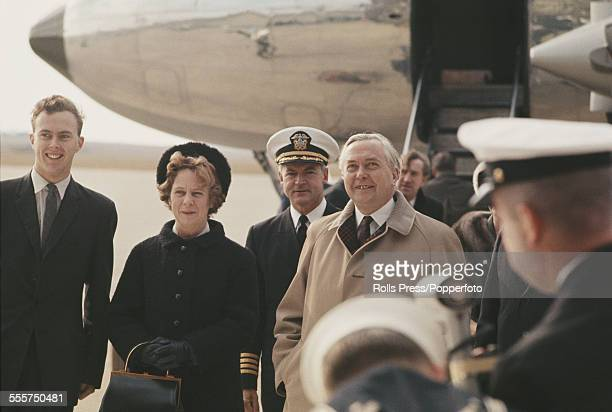 Prime Minister of the United Kingdom Harold Wilson arrives at an airport in Washington DC with his wife Mary Wilson at the start of a visit to meet...