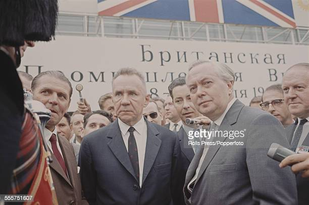 Prime Minister of the United Kingdom Harold Wilson pictured on right with Soviet Premier Alexei Kosygin during a visit to Moscow Soviet Union for...