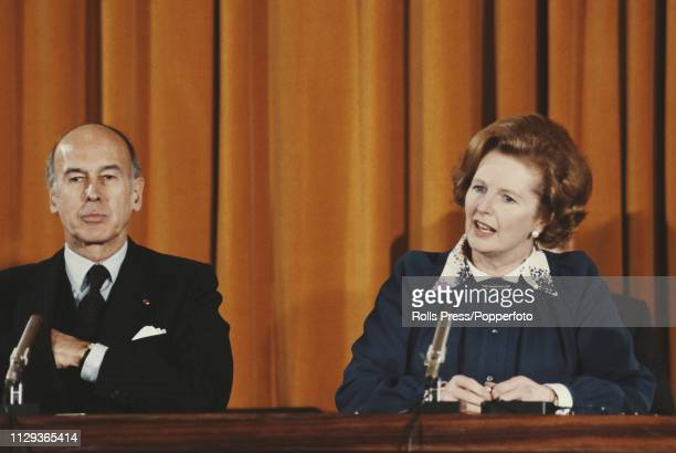 Prime Minister of the United Kingdom Margaret Thatcher pictured seated next to President Valery Giscard d'Estaing of France as she addresses a joint...