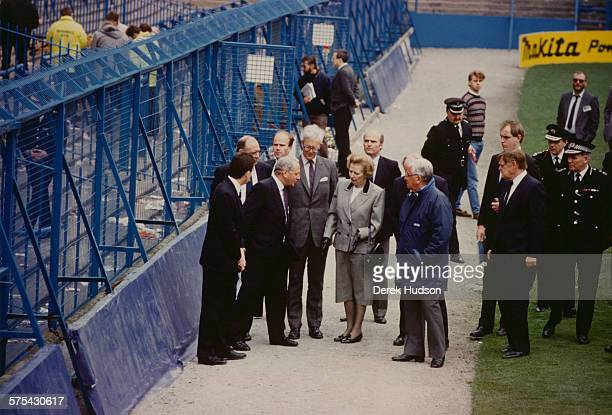 Prime Minister of the United Kingdom Margaret Thatcher visiting Hillsborough Stadium in Sheffield the day after the stampede which resulted in the...