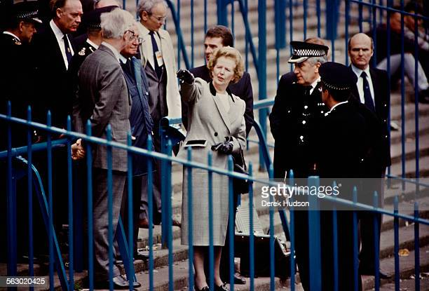 Prime Minister of the United Kingdom Margaret Thatcher visiting Hillsborough Stadium the day after the stampede which resulted in the deaths of 96...