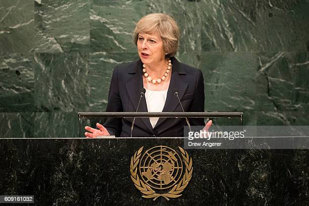 Prime Minister of the United Kingdom Theresa May addresses the United Nations General Assembly at UN headquarters September 20 2016 in New York City...