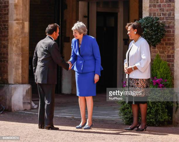Prime Minister of the United Kingdom Theresa May and the Commonwealth Secretary General Patricia Scotland welcome HM Sultan Hsji Waddaulah of Brunei...