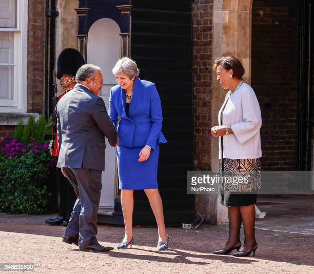 Prime Minister of the United Kingdom Theresa May and the Commonwealth Secretary General Patricia Scotland welcome Hon Peter ONeil of Papua New Guinea...