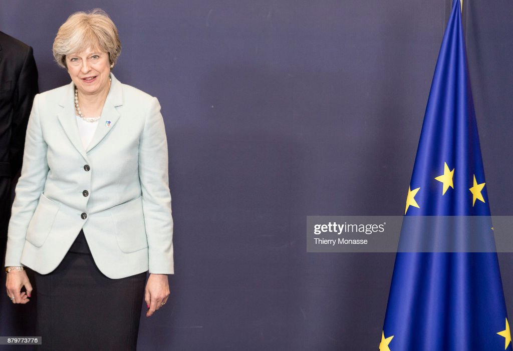 Prime Minister of the United Kingdom Theresa May arrives for a family photo on November 24, 2017 in Brussel, Belgium.