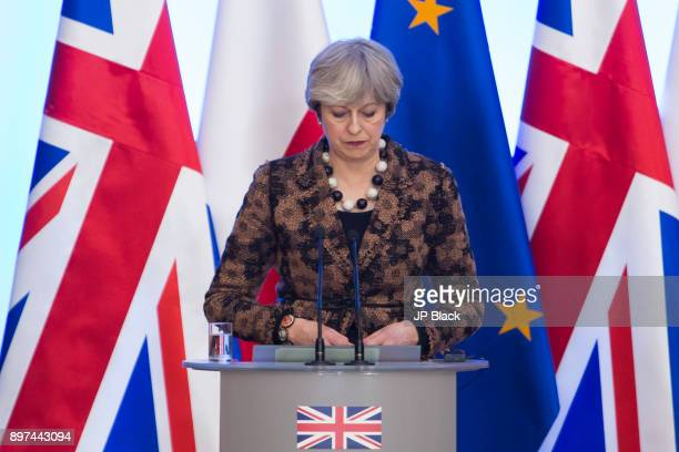 Prime Minister of the United Kingdom Theresa May at the press conference after PolishBritish intergovernmental consultations