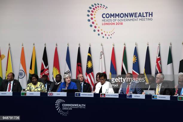 Prime Minister of the United Kingdom Theresa May chairs a meeting of the Commonwealth Heads of Government on April 19 2018 in London England