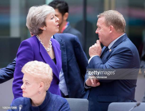 Prime Minister of the United Kingdom Theresa May is talking with the Danish Prime Minister Lars Lokke Rasmussen and the Lithuanian President Dalia...