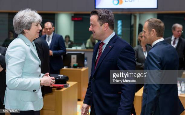 Prime Minister of the United Kingdom Theresa May is talking with the Luxembourg Prime Minister Xavier Bettel prior an EUEastern partnership summit on...