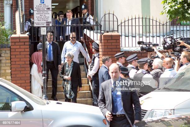 Prime Minister of the United Kingdom Theresa May visits Finsbury Park Mosque after a vehicle mows down Muslim worshippers in London England United...