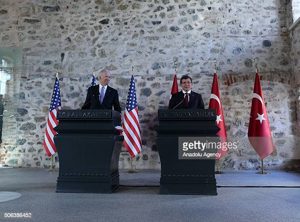 Prime Minister of Turkey Ahmet Davutoglu and Vice President of the United States Joe Biden hold a joint press conference after their meeting at...