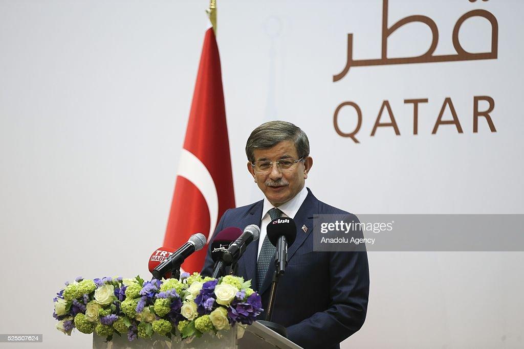 Prime Minister of Turkey Davutoglu in Qatar : News Photo