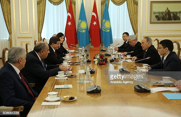 Prime Minister of Turkey Ahmet Davutoglu meets with President of Kazakhstan Nursultan Nazarbayev in Astana Kazakhstan on February 6 2016