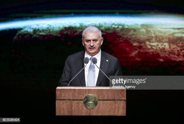 Prime Minister of Turkey Binali Yildirim addresses during 11th Development Plan Publicity Meeting at the Bestepe National Congress and Culture Center...