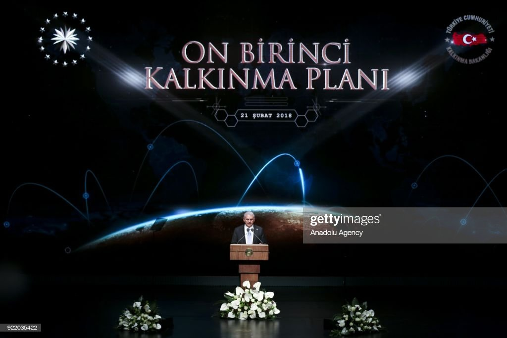 Prime Minister of Turkey Binali Yildirim addresses during 11th Development Plan Publicity Meeting at the Bestepe National Congress and Culture Center in Ankara, Turkey on February 21, 2018.