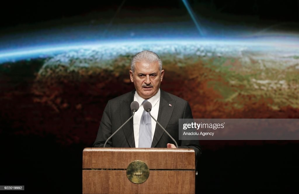 Prime Minister of Turkey Binali Yildirim addresses during publicity meeting of the 11th Development Plan at the Bestepe National Congress and Culture Center in Ankara, Turkey on February 21, 2018.