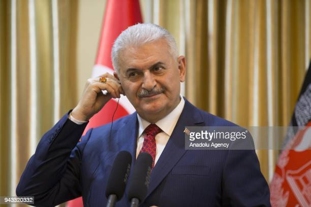 Prime Minister of Turkey Binali Yildirim and Afghanistan Chief Executive Officer Abdullah Abdullah hold a joint press conference after their meeting...