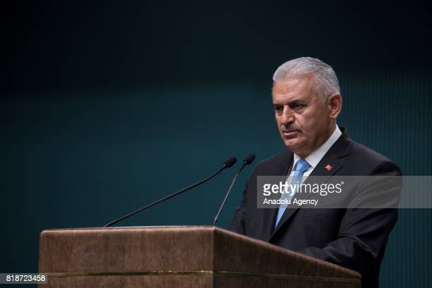 Prime Minister of Turkey Binali Yildirim announces Cabinet reshuffle during a press conference following a meeting with the President of Turkey Recep...