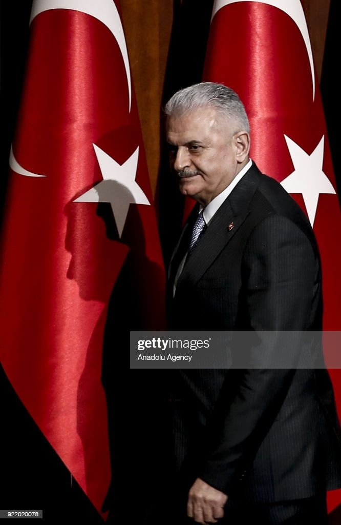 Prime Minister of Turkey Binali Yildirim arrives to give a speech at publicity meeting of the 11th Development Plan at the Bestepe National Congress and Culture Center in Ankara, Turkey on February 21, 2018.
