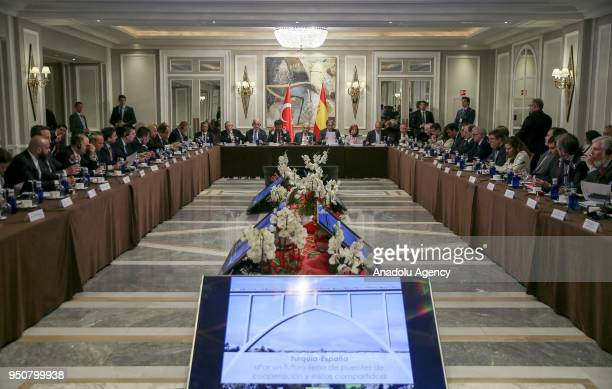 Prime Minister of Turkey Binali Yildirim attends a meeting with Turkish and Spanish businessmen in Madrid Spain on April 24 2018 Turkish Economy...