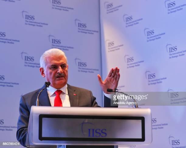 Prime Minister of Turkey Binali Yildirim attends a panel at International Institute for Strategic Studies in London United Kingdom on November 27 2017