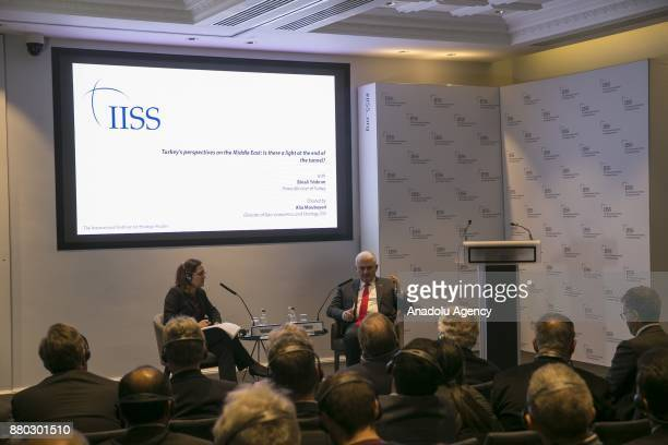 Prime Minister of Turkey Binali Yildirim attends a panel titled 'Turkey's perspectives on Middle East Is there a light at the end of tunnel' at...