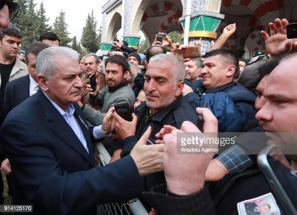 Prime Minister of Turkey Binali Yildirim attends the funeral ceremony of Infantry Sergeant Ahmet Bayram who was martyred during an operation against...