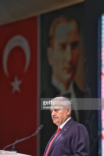 Prime Minister of Turkey Binali Yildirim gives a speech at a program for postgraduate scholarship students set to study abroad organized by the...