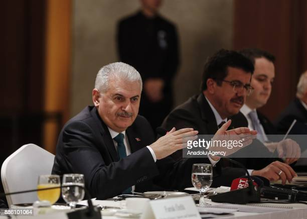 Prime Minister of Turkey Binali Yildirim holds a meeting with Korea's business world representatives at Lotte Hotel in Seoul South Korea on December...