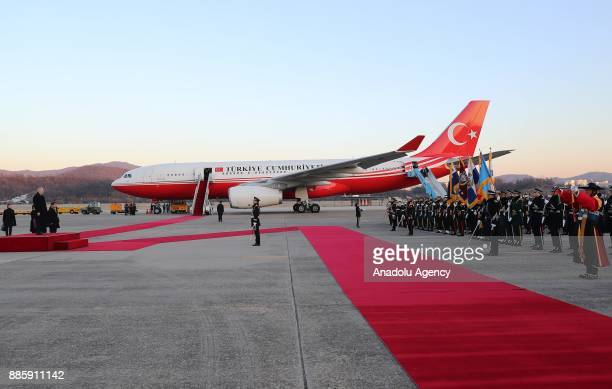 Prime Minister of Turkey Binali Yildirim is welcomed with an official ceremony upon his arrival with a private plane called TUR at Seoul Air Base in...