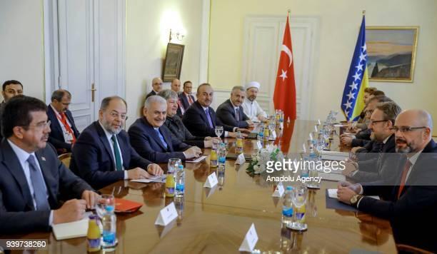 Prime Minister of Turkey Binali Yildirim meets with Bosniak Member of the Presidency of Bosnia and Herzegovina Bakir Izetbegovic and the Serbian...