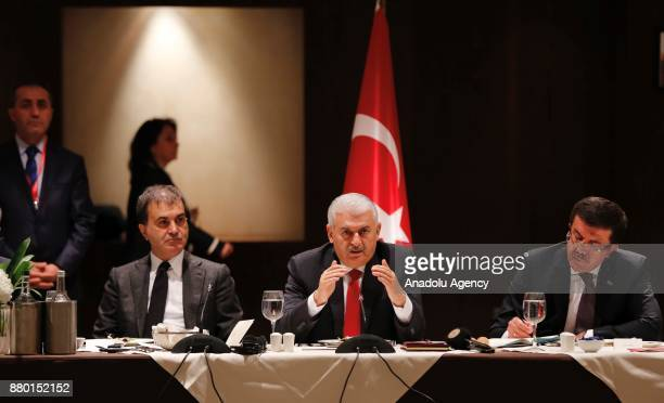 Prime Minister of Turkey Binali Yildirim meets with representatives of business and politics in England at Intercontinental Park Lane Hotel in London...