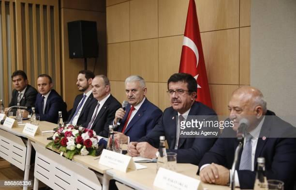 Prime Minister of Turkey Binali Yildirim Turkish Minister of Science Industry and Technology Faruk Ozlu Turkish Economy Minister Nihat Zeybekci...