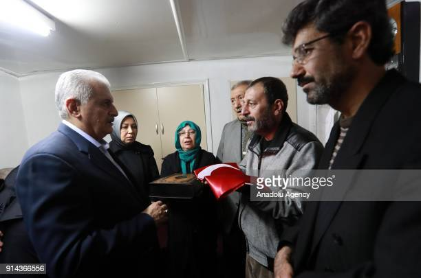 Prime Minister of Turkey Binali Yildirim visits the relatives of martyred Muzaffer Aydemir who was martyred after members of PKK/PYD terrorist...