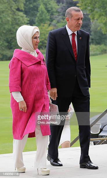 Prime Minister of Turkey Recep Tayyip Erdogan and his wife Emine Erdogan arrive for a reception at Buckingham Palace for Heads of State and...