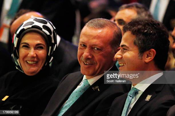 Prime Minister of Turkey Recep Tayyip Erdogan and wife Emine and Turkey Minister of Youth and Sports Suat Kilic look on during the 125th IOC Session...