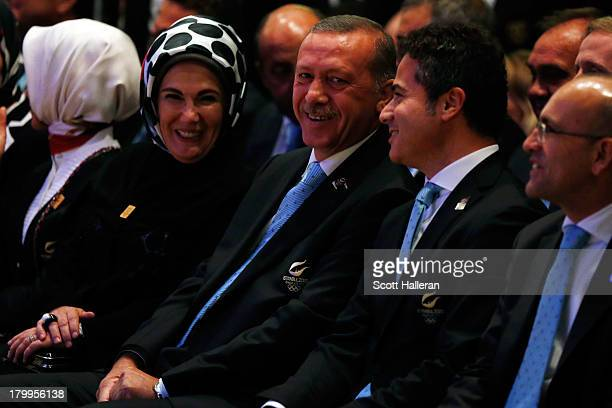 Prime Minister of Turkey Recep Tayyip Erdogan and wife Emine look on during the 125th IOC Session 2020 Olympics Host City Announcement at Hilton...