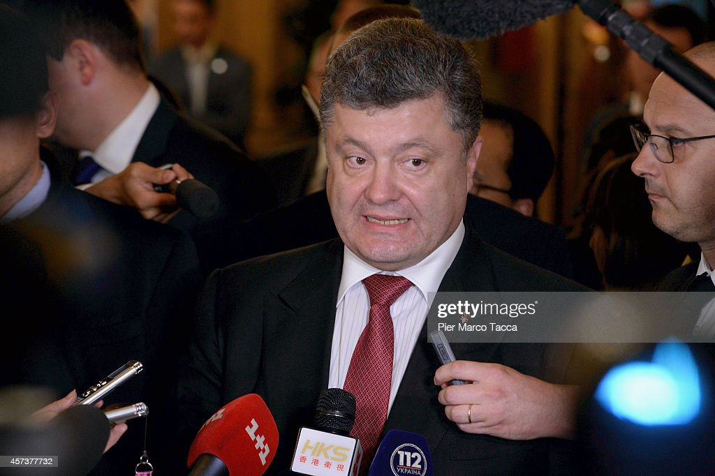 Prime Minister of Ukraine Petro Oleksijovyc Porosenko speaks with the media at the end of the bilateral meeting with the Russian President Vladimir Putin, at Westin Hotel, on the sidelines of the10 ASEM Summit with 50 Heads Of State From Europe And Asia on October 17, 2014 in Milan, Italy.The Asia-Europe Meeting (ASEM) was initiated in 1996 when the ASEM leaders met in Bangkok, Thailand. ASEM is an informal trans-regional platform for dialogue and cooperation between Asia and Europe