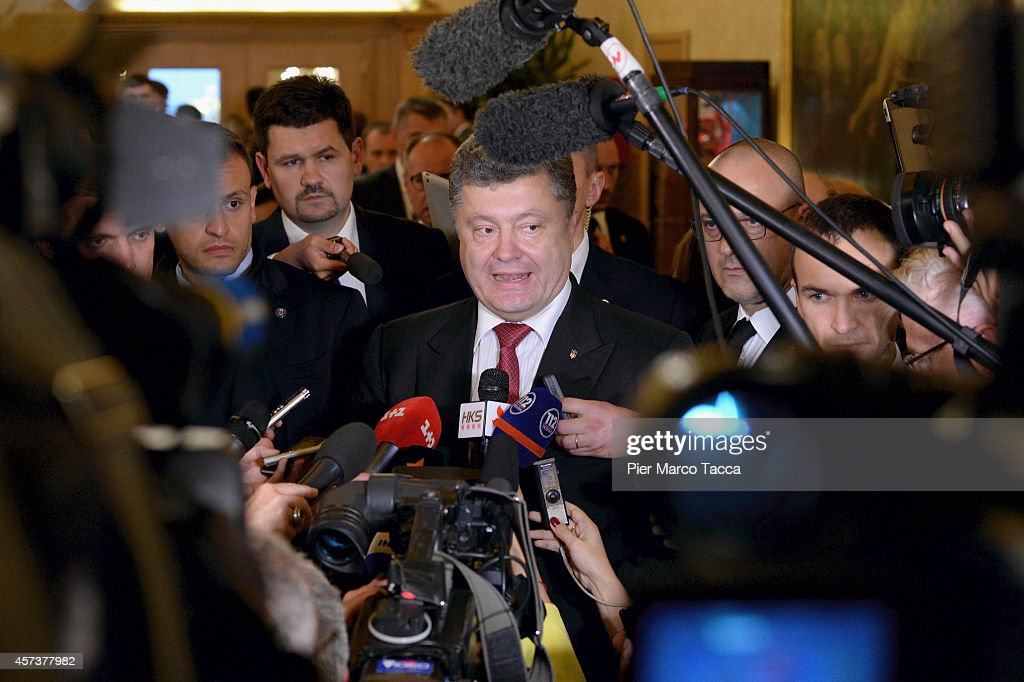 Prime Minister of Ukraine Petro Oleksijovyc Porosenko speaks with the media at the end of the bilateral meeting with the Russian President Vladimir Putin, at the Westin Hotel, on the sidelines of the10 ASEM Summit with 50 Heads Of State From Europe And Asia on October 17, 2014 in Milan, Italy.The Asia-Europe Meeting (ASEM) was initiated in 1996 when the ASEM leaders met in Bangkok, Thailand. ASEM is an informal trans-regional platform for dialogue and cooperation between Asia and Europe