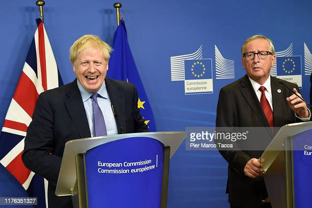 Prime Minister of United Kingdom Boris and Jean Claude Juncker President of European Commission during the press conference to the European...