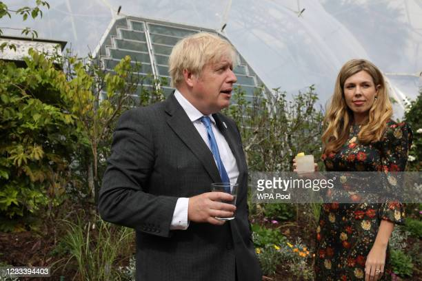 Prime Minister of United Kingdom, Boris Johnson and his wife Carrie Johnson attend a reception at The Eden Project during the G7 Summit on June 11,...
