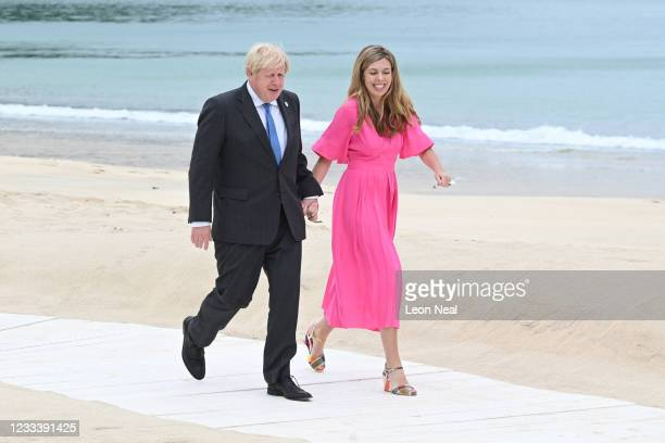 Prime Minister of United Kingdom, Boris Johnson, and wife Carrie Johnson, arrive for the Leaders official welcome and family photo during the G7...