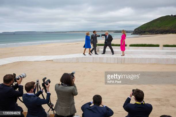 Prime Minister of United Kingdom, Boris Johnson and wife Carrie Johnson greet President of France, Emmanuel Macron, and his wife Brigitte Macron...