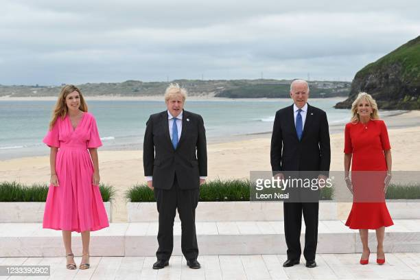 Prime Minister of United Kingdom, Boris Johnson, and wife Carrie Johnson, pose with US President Joe Biden and US First Lady Jill Biden for the...