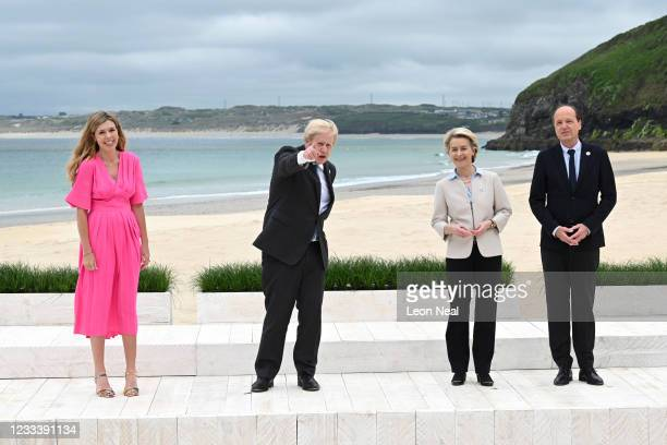 Prime Minister of United Kingdom, Boris Johnson, and wife Carrie Johnson, pose with President of the European Commission Ursula von der Leyen and...