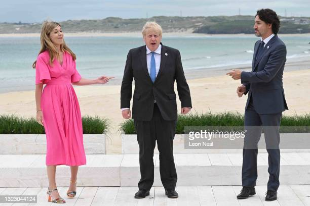 Prime Minister of United Kingdom, Boris Johnson, and wife Carrie Johnson, pose with Prime Minister of Canada, Justin Trudeau, during the Leaders...